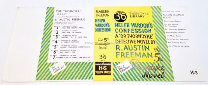 Helen Vardon's Confession by R Austin Freeman Dust Jacket Only Early Reprint Hodder & Stoughton 1935